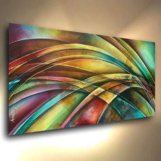 "Original Abstract Design. A single canvas original painting measuring 24""high x 48"" wide. Professional quality materials were used in the creation of this art. The canvas is Gallery wrapped acid free cotton, the sides are staple free and have been painted so no decorative framing is needed to displaythem. 