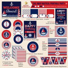 Sail Away Nautical Navy & Red Birthday - DIY Printable Party Pack