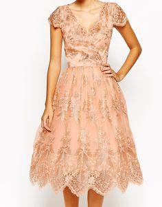 Image 3 ofChi Chi London Wrap Front Full Midi Prom Dress In Premium Metallic Lace