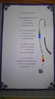 Special teacher beaded shepherds hook bookmark w/poem...handmade by me =)