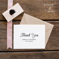 Wedding Thank You Stamp Personalized Thank You by fairmontandgrove