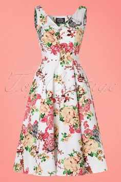 Hearts & Roses - 50s Susan Floral Swing Dress in White