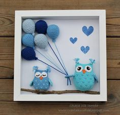 Crochet Wall Art, Crochet Box, Cute Crochet, Crochet Crafts, Crochet Dolls, Crochet Projects, Knit Crochet, Crochet Bird Patterns, Crochet Birds