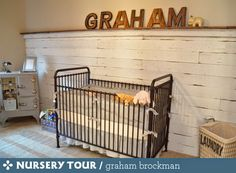 Great rustic / industrial nursery. Extra bonus points for the old upcycled cabinet highlighted by a retro desk lamp. We've got a similar one: http://www.fatshackvintage.com.au/collections/lighting/products/industrial-table-lamp
