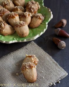 """<p>Not only do these travel well, but how adorable are these bite sized, delicious cookies that are perfect for fall? <a href=""""http://whatagirleats.com/brown-sugar-walnut-shortbread-acorn-cookies/"""">FULL RECIPE HERE</a></p>"""