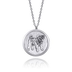Dog Necklace, Pendant Necklace, Coin Jewelry, Black Backgrounds, Pendants, Sterling Silver, Chain, Handmade, Collection