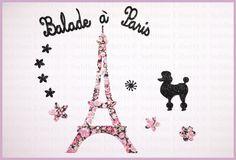 Liberty Appliqués Thermocollants Paris Patch Tour Eiffel Liberty Chive Pink et Tissu Pailleté Noir de la boutique SublimeLiberty sur Etsy