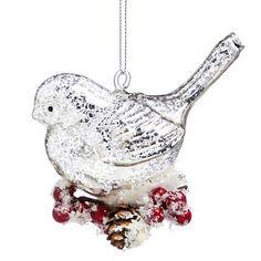 Mercury Glass Cardinal Ornament, EE3OTG239