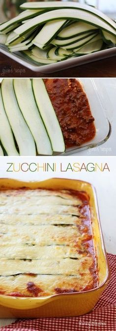 "No carb recipes Zero carb recipes No carb recipe ideas Zucchini Lasagna-no pasta! Ingredients: ""1 lb 93% lean beef 3 cloves garlic 1/2 onion 1 tsp olive oil salt and pepper 28 oz can crushed tomatoes 2 tbsp chopped fresh basil 3 medium zucchini, sliced 1/8"" thick 15 oz part-skim ricotta 16 oz part-skin mozzarella cheese, shredded (Sargento) 1/4 cup Parmigiano Reggiano 1 large egg"""