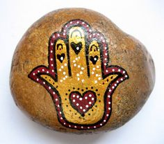 Hamsa hand art stone/paperweight by Ludibund on Etsy, $15.50
