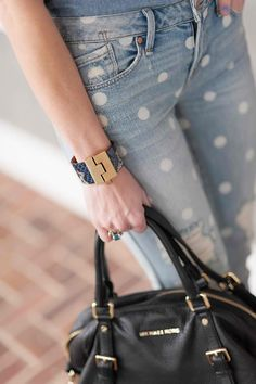 dotted denim // black leather //saturday all day