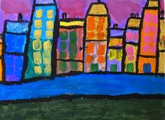 2nd Grader's Interpretation of Kandinsky's Houses in Munich