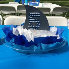 Last minute Shark Centerpiece, not too bad given I only had 4 days to figure it… 6th Birthday Parties, Birthday Fun, Birthday Ideas, Hai, Baby Shark, Party Ideas, Birthdays, Shark Party Favors, Water Party