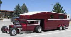 Combine a great looking hot rod with a custom trailer and what you get is a one of a kind travel trailer that becomes athis hot rod RV Custom Trailers, Vintage Trailers, Camper Trailers, Camper Van, Pickup Camper, Vintage Campers, Travel Trailers, Hot Rods, Cool Rvs