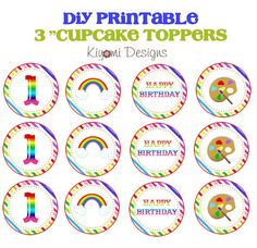 Rainbow Art Party Themed Cake or Cupcake Topper by KiyomiDesigns