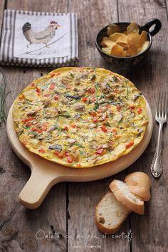 Omleta cu macrou si cartofi prezentare Vegetable Pizza, Quiche, Spicy, Vegetables, Breakfast, Recipes, Omelet, Potatoes, Morning Coffee