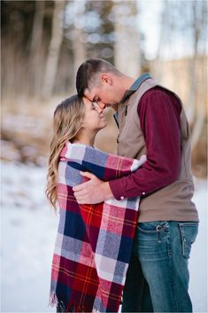 Snowy Mountain Engagement // Colorado Engagement Photographer // Plaid // Winter