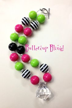 Girls Chunky Bubblegum Bead Necklace ~ Love the Colors