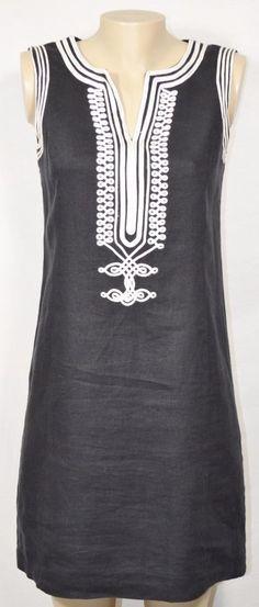 MICHAEL MICHAEL KORS Black Sleeveless Linen Dress 4 White Ric Rac Trim Lined #MichaelKors #Shift #SummerBeach