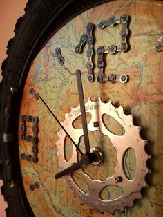 Bike parts clock
