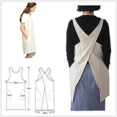 6f28b6b0aa2 Soft Cotton Linen Apron Solid Color Halter Cross Bandage Aprons Japanese  Style X Shape Double Pockets Kitchen Cooking Clothes Gift for Women Chef ...