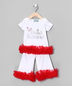 Take a look at this White 'Santa Rocks!' Tee & Pants - Infant, Toddler & Girls by Born 4 Couture on #zulily today!