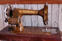 Rear View of Domestic Sewing Machine.  In their time, the 1860s to 1880s, Domestic was a leader in the field.