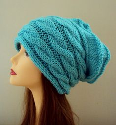 Women's Chunky Beanie Slouchy Knit Cabled Hat Rasta Hat Baggy Hat Beanie Women Fall Winter Clothing Accessories Gift Ideas   by GrahamsBazaar, $69.99