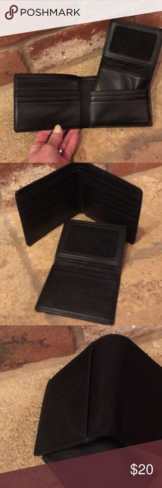 "Men's Black Wallet/ Exterior Nylon/ Interior Nylon Brand New Brookstone Black Wallet 4.5"" x 3.5"" Super Durable ....Smoke Free Home. My husband prefers money clips:) Brookstone Accessories Key & Card Holders"