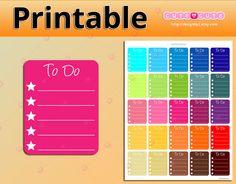 Ombre To Do Checklist Full Box Printable Planner Stickers - happy planner printables - filofax - Erin Condren - organizing stickers
