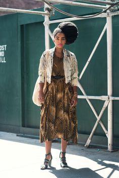 Vintage bag, dress and jacket on Cipriana Quann via Vogue