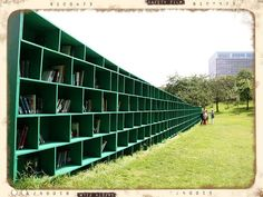 Art of Reading  Massimo Bartolini's impressive green outdoor library titled Bookyard was constructed by the artist in the idyllic vineyard of St. Peter's Abbey in the Belgian town of Ghent. It is part of the Track art festival, and visitors are invited to take a book along in exchange for a small donation.    Photos from debeeldenplukker, Ivan Deboom, and janberckmans.