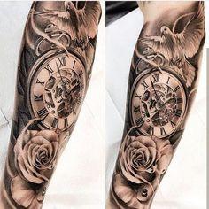 tattoos for men, wrist rose tattoo, wrist hour tattoo, best tattoos for men - My list of best tattoo models Clock Tattoo Sleeve, Arm Sleeve Tattoos, Tattoo Sleeve Designs, Tattoo Designs Men, Tattoo Clock, Clock Tattoo Design, Sleeve Tattoo For Guys, Skull Sleeve, Forarm Tattoos
