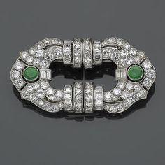 An art deco emerald, diamond and platinum double-clip brooch, Lacloche