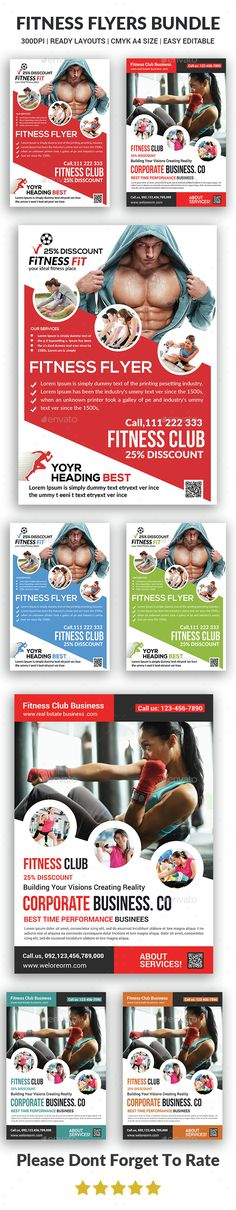 #Fitness #Flyers bundle - #Corporate Flyers Download here: https://graphicriver.net/item/fitness-flyers-bundle/14701954?ref=alena994
