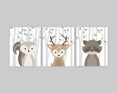 These Woodland nursery decor prints would be the perfect addition to a woodland themed Nursery - Cute forest animals decor for kids bedroom or nursery that will add color to your little ones walls.  This adorable wall art of three prints features cute woodland animal illustrations: Squirrel Deer Raccoon on a birch tree background. The background color used is white and green leaves, but is fully customizable. Just choose the Custom Color option and leave a note for me with the order if any…