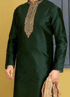 Buy Dark Green Embroidered Kurta Pyjama online, SKU Code: This Green color kurta pyjama for Men comes with Embroidered Art Silk. Wedding Kurta For Men, Wedding Outfits For Groom, Kurta Pajama Men, Kurta Men, New Saree Designs, Mens Kurta Designs, Gents Clothes, Mens Traditional Wear, Mens Indian Wear