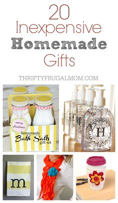 A great collection of homemade gift ideas that are not only inexpensive but also relatively simple and easy to make! Perfect for Mother's Day, Christmas or any occasion!