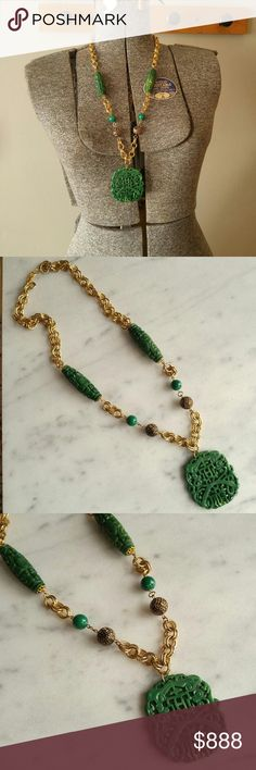 Bold Vintage Asian green and gold tone necklace This wonderful vintage necklace is big and chunky! It has a lightweight plastic pendant and beads on a double link gold tone chain. The plastic *might* be Bakelite- I just have no time to test it. This bold necklace is in really great condition with very little wear. From a smoke free home. Offers welcome:)  BIG8858green7g4s Vintage Jewelry Necklaces