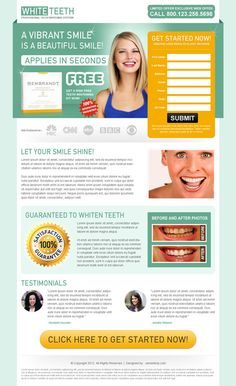 Teeth whitening landing page design templates PSD for sale. | High Converting Landing Page Design Blog