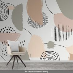 Abstract Wallpaper, Pastel Color Mural, Peel and stick wallpaper, Removable wallpaper by Giffy Walls