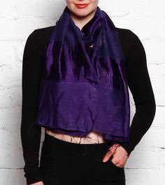 Blue Printed Tussar Silk Stole