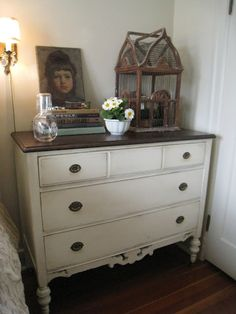 GG's lantern. Love this dresser beside the bed. We don't always have to have a nightstand. Annie Sloan chalk paint: Old White and a little dark wax