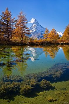 The Matterhorn reflected in the Grindjsee, Valais, Switzerland (by Andreas Resc