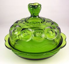 Vintage L E Smith green Moon and Star covered butter cheese dish - L.E. Smith