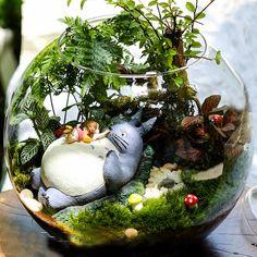 A set 5* Totoro Figurines , Girl Lay on Big Totoro , Miniature Ghibli Studio Mini Fairy Garden Supplies Succulent Terraium DIY Accessories