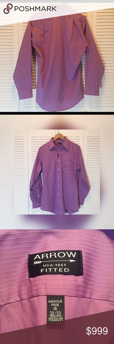 NWTLavender FITTED Men's Dress Shirt Neck 15, Arms 32/33. Lavender. Has very tiny pinholes from store display and being pinned into place to stay folded. I've shown them in pix & these are zoomed in a lot. If holding the shirt up at arm's length, you can't even see these. You'd have to LOOK hard to find them. I check everything thoroughly to give the best description possible.   Thank you for shopping!! :) Arrow Shirts Dress Shirts