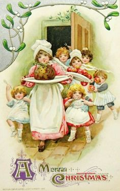Christmas Postcard Plum Pudding Children 1920 Series 951 C Merry Christmas, Christmas Greetings, Kids Christmas, Christmas Crafts, Christmas Postcards, Magical Christmas, Christmas Kitchen, Christmas Morning, Christmas Recipes