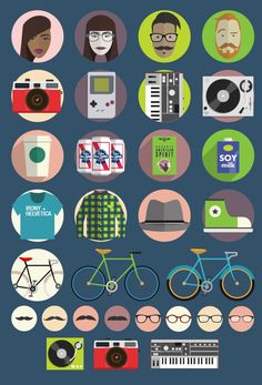 Hipster Icon Set. FREE  PBR Icon!!!!