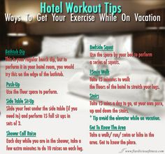For your TRAVELING NEEDS! Repin this one for when you plan to travel. These tips are good to have with you so that you can stick to your exercise goals.